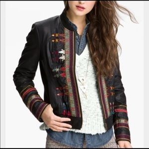 Free people leather jacket with detail embroidery